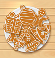 plate with tasty christmas cookies on wooden table vector image vector image