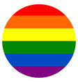 round rainbow flag movement lgbt flat icon symbol vector image