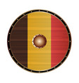 round viking style shield with belgium flag vector image vector image