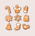 set christmas and new year gingerbread cookies vector image