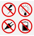 set of signs prohibiting Electric operation the vector image