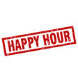 square grunge red happy hour stamp vector image vector image