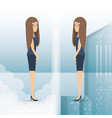 successful business woman standing up the mirror vector image