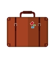 suitcase with handle and stickers icon vector image vector image