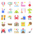 summer vacation related icon set 2 flat style vector image vector image