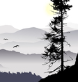 sunrise mountain view flying birds vector image vector image