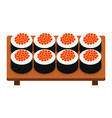 sushi roll with caviar japanese food vector image