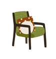 trendy chair with cushions armchair with wooden vector image