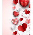 valentine s background with letters and hearts vector image vector image