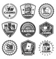 vintage monochrome casino labels set vector image vector image