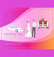wedding day banner with newly married weds bride vector image vector image