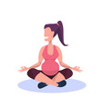 young pregnant woman practicing yoga happy girl vector image vector image