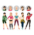 young women in sport clothes vector image vector image