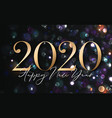 2020 happy new year background with gold numbers vector image vector image