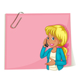 A big pink empty template with a woman using a vector image vector image