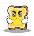 angry face bread character cartoon vector image vector image