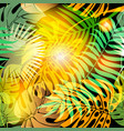 autumn palm leaves abstract seamless vector image