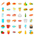 big dinner icons set cartoon style vector image vector image