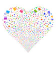 birthday cake fireworks heart vector image