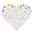 birthday cake fireworks heart vector image vector image