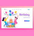 birthday party with friends people carry gifts vector image vector image