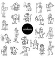 black and white workers characters set vector image