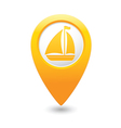 boat icon on map pointer yellow vector image vector image