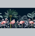 border with pink flamingo in jungle vector image