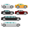 Cartoon cars with big wheels set sedan and limousi vector image vector image