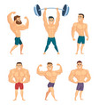 cartoon characters of strong and muscular vector image vector image
