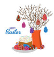 cartoon cute flat vase with spring branches vector image vector image
