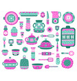 cartoon kitchen dishes ceramic crockery dishes vector image vector image