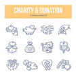 charity donation doodle icons vector image