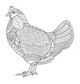 chicken zentangle stylized for coloring book for vector image vector image