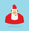 Christmas Call Center Santa Claus and headset vector image vector image