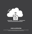 cloud upload save data computing icon glyph vector image