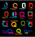 corporate identity q icons trend style design vector image vector image