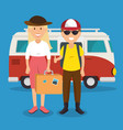 couple travelers with suitcases characters vector image