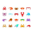 crab icon set cartoon style vector image