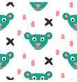 cute bear green fun seamless pattern for kids and vector image vector image