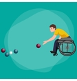 Disabled Athlete On Wheelchair Play Boccia Sport vector image