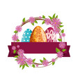 eggs painted with flowers crown vector image
