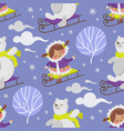eskimo girl bear winter seamless pattern vector image