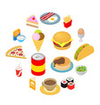 fast food isometric 3d icons set vector image