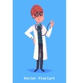funny doctor character isolated on violet vector image vector image