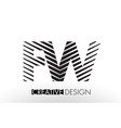 fw f w lines letter design with creative elegant vector image vector image