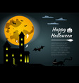 Halloween black castle on yellow moon background