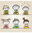 hand drawing cartoon happy life meditation vector image