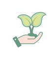hand with nice plants with ground to natural vector image vector image
