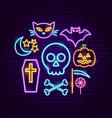 happy halloween neon concept vector image vector image